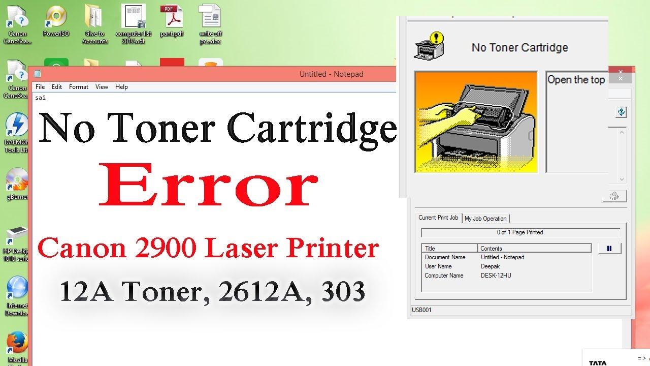 No Toner Cartridge error canon lbp 2900 Printer fix