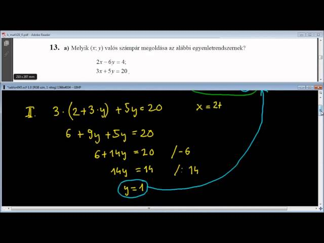 13/a Feladat - Kétismeretlenes egyenletrendszer