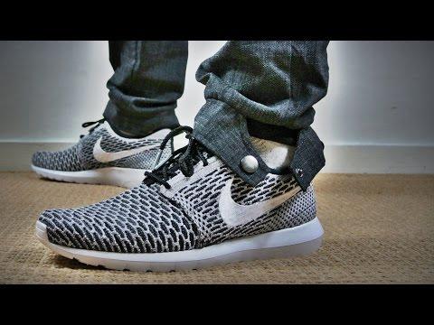 free shipping 11aac 174e9 Nike Roshe Run Flyknit Black White Dark Grey + On Feet - YouTube