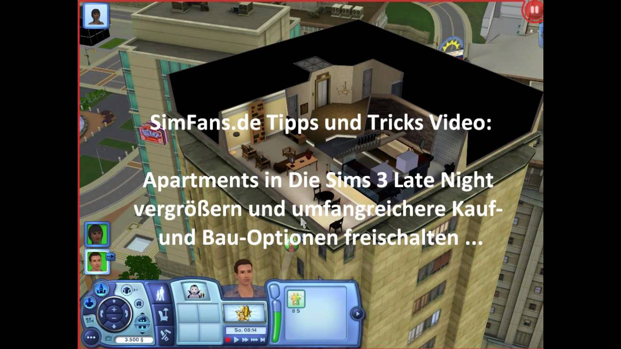 die sims 3 late night cheat apartments vergr ern youtube