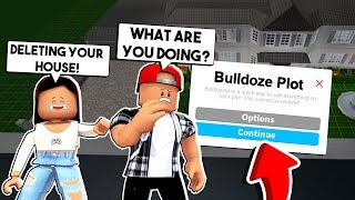 I BULLDOZED MY BOYFRIEND'S MANSION in BLOXBURG! *HE GOT SO MAD* - Roblox