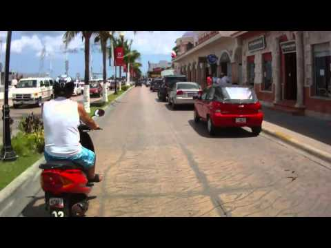 Cozumel Mexico downtown via HD helmet cam