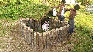 Build Rabbit House using wooden and mud