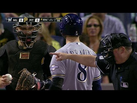 MIL@PIT: Benches warned after inside pitch to Braun