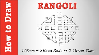 How to Draw Rangoli : 14 Dots - 2 Rows Ends at 2 Direct Dots