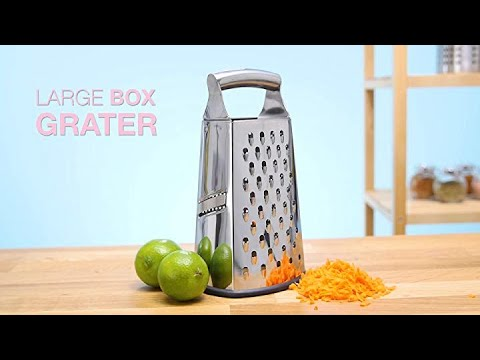 Spring Chef Box Grater, 4-Sided Stainless Steel Large 10-inch Grater for Parmesan Cheese, Ginger