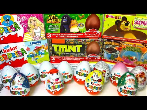 30 Киндер Сюрпризов,Unboxing Kinder Surprise Маша и Медведь,Barbie,TMNT,KinderMaxi