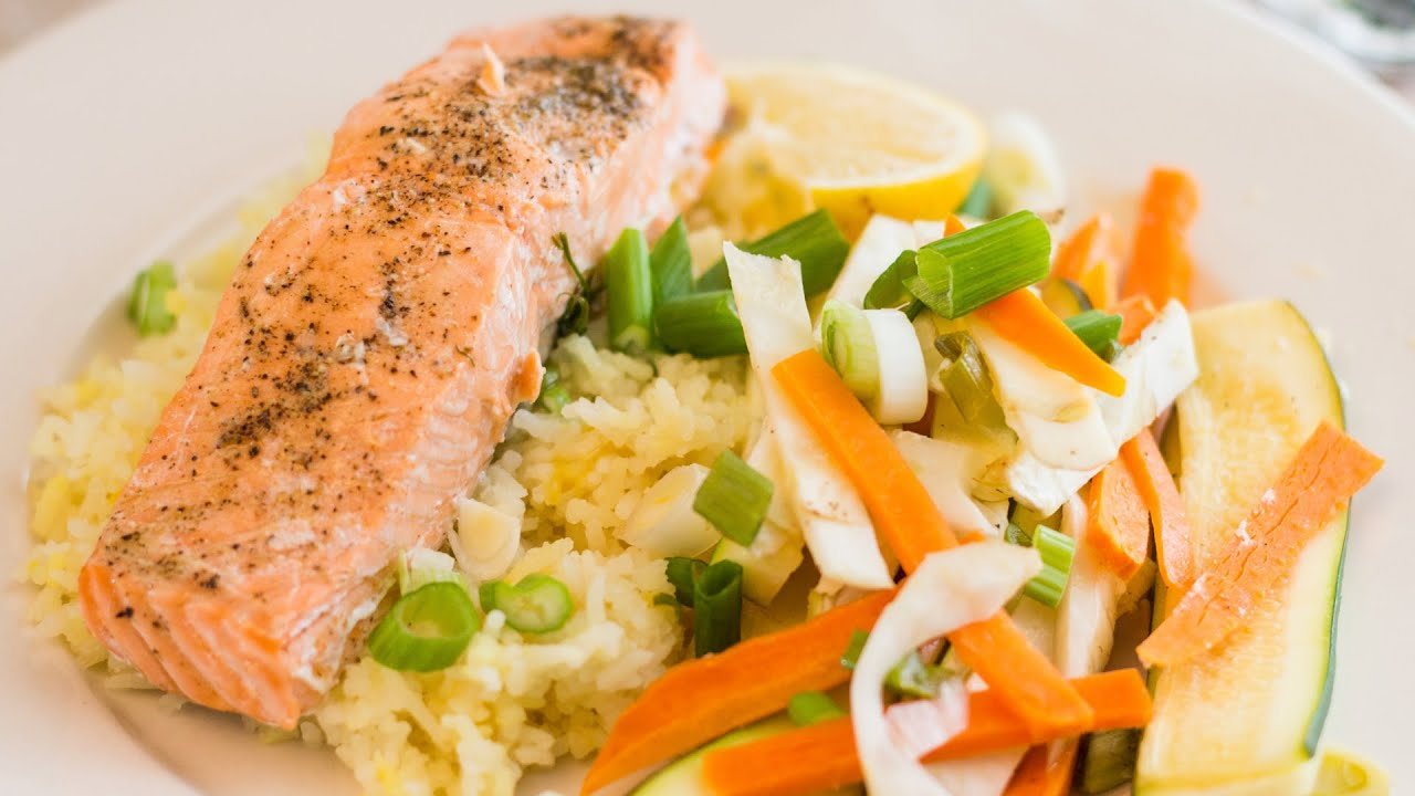 Oven Steamed Salmon With Vegetables (healthy Valentine's Day Meal!)   Youtube