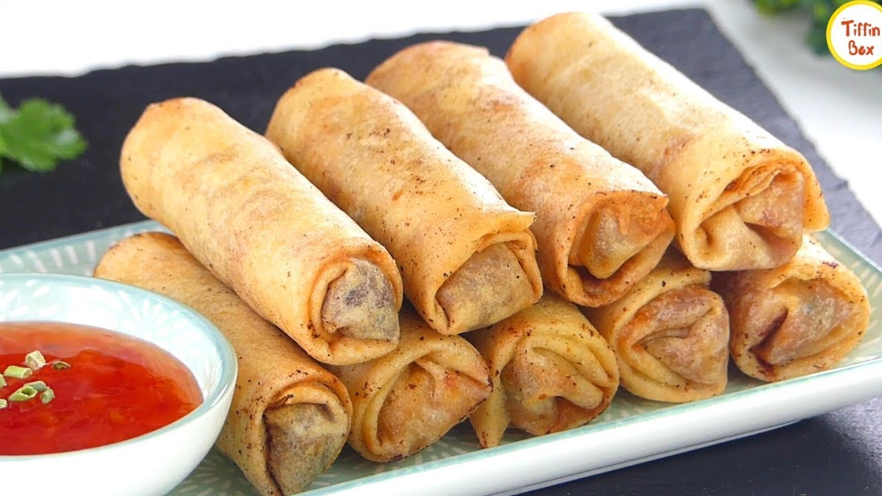 Vegetable Spring Rolls Chicken Spring Rolls Recipe By Tiffin Box Restaurant Style Chinese Rolls Youtube