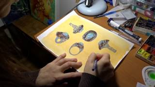 Lala Lotos at work. The making of opal ring draft.