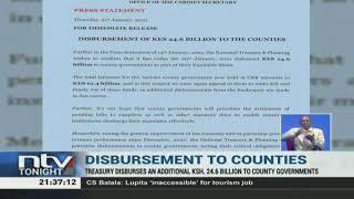 Treasury disburses an additional Sh 24.6B to counties