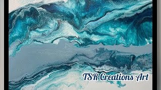 Ocean inspired pearl cell swipe. Fluid art techniques/Acrylic pouring