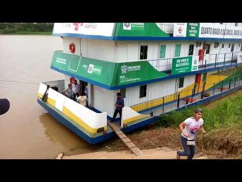 Governador e conselheiros do TC visitam Barco Hospital e obra novo Hospital de Guajará-Mirim - Vídeo