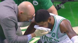 Kyrie Irving Injury - Gets Elbowed in the Face! Boston Celtics vs Charlotte Hornets