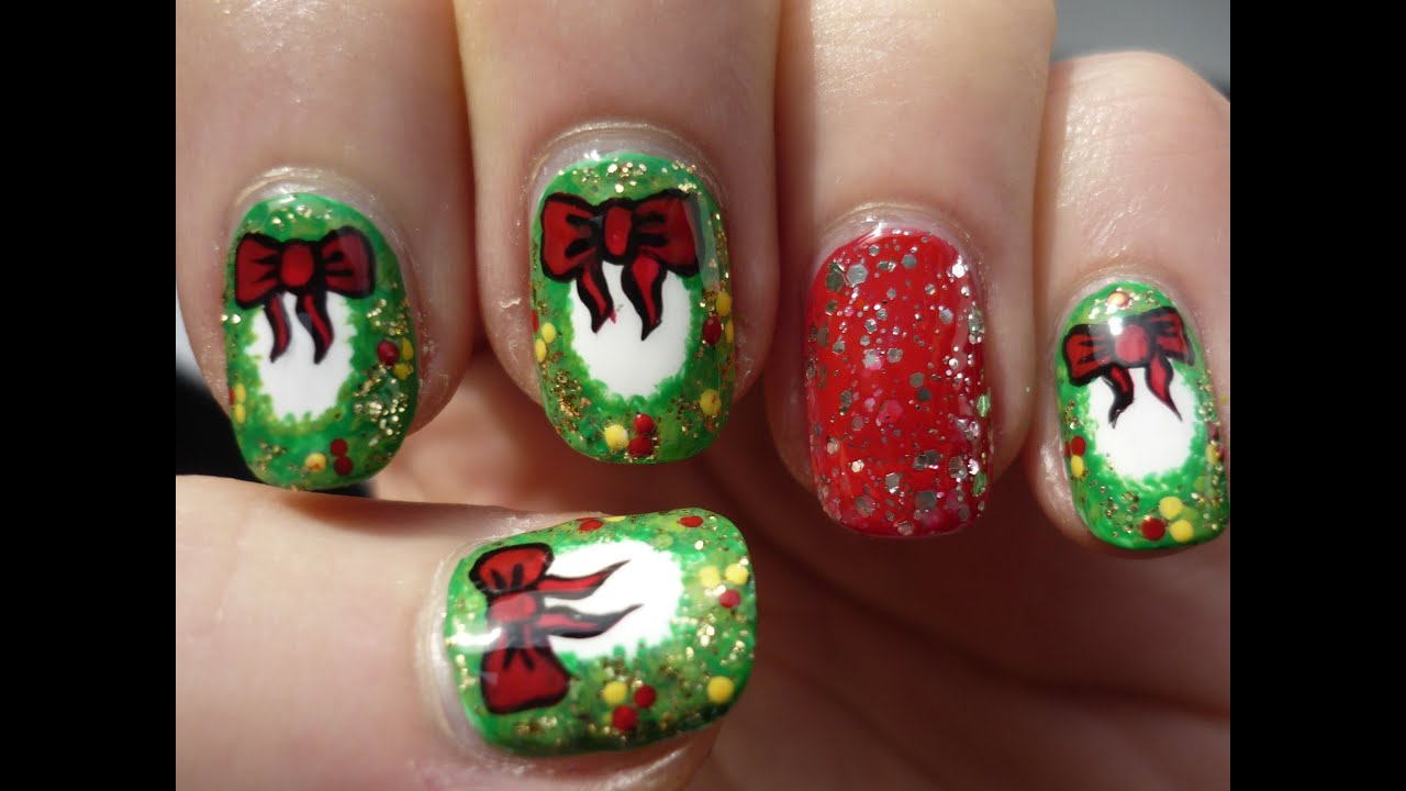 Christmas wreath nails holiday nail art youtube prinsesfo Image collections