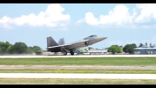 F-22 Raptor Unrestricted Climb with Afterburner EAA Airventure 2015