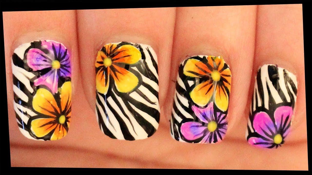 Ombre Flowers on Zebra nail art - Ombre Flowers On Zebra Nail Art - YouTube