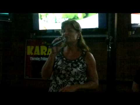 Lori in Charlotte at Steamers Sports Bar Karaoke singing Patty Lovelace, Blame it on Your Heart