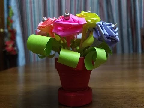 How to make paper quilling flower pot colored paper flowers how to make paper quilling flower pot colored paper flowers tutorial mightylinksfo