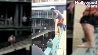 steve o backflips off bridge into 4 ft water san antonio