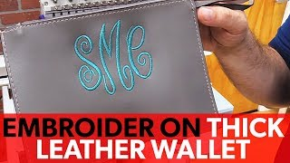 Embroidery Grip on Thick Leather Wallet Monogram
