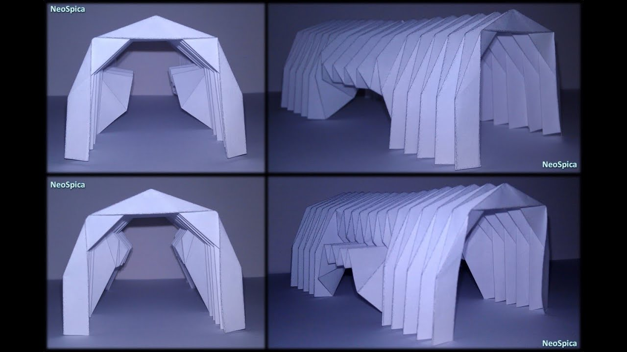 Paper Barrel Vault Architecture Origami Folding V3
