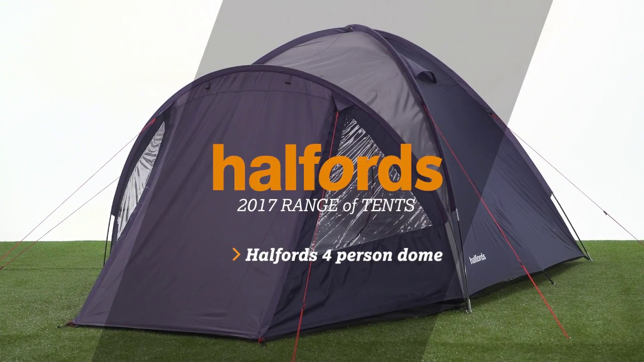 Halfords 4 Person Double Skin Tent & Halfords 4 Person Double Skin Tent - YouTube