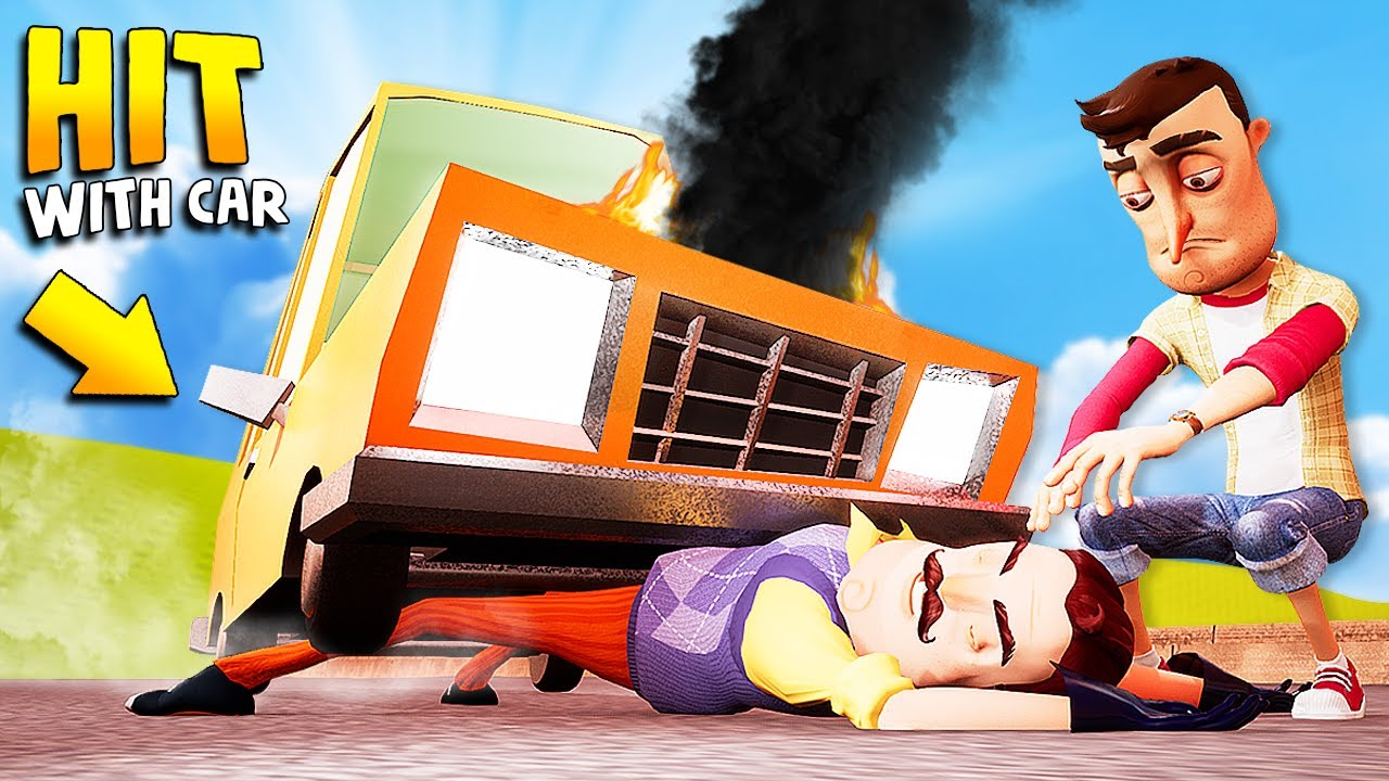 Hitting The Neighbor WITH MY CAR!!! (oops…) | Hello Neighbor Gameplay (Mods)