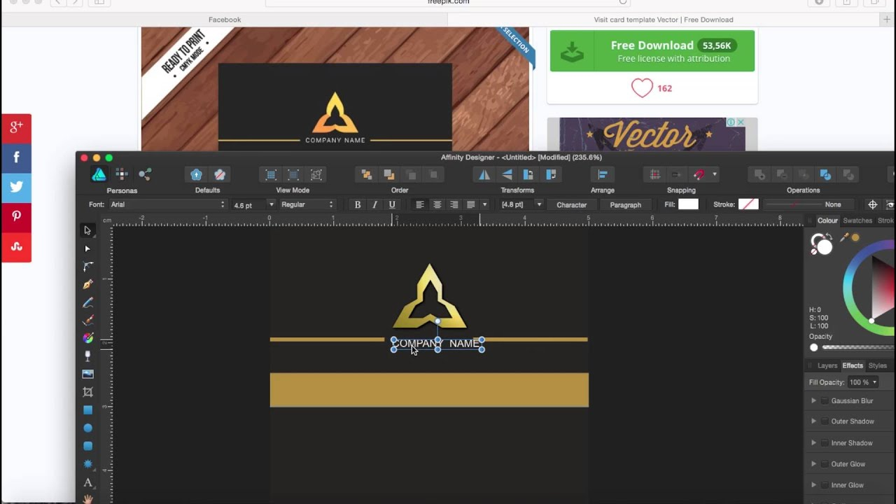 remaking business card on affinity designer speed art youtube