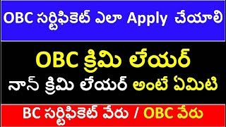How To apply OBC Non Creamy Layer in Ap and Ts | Diff Bw Creamy layer and non creamy layer in telugu