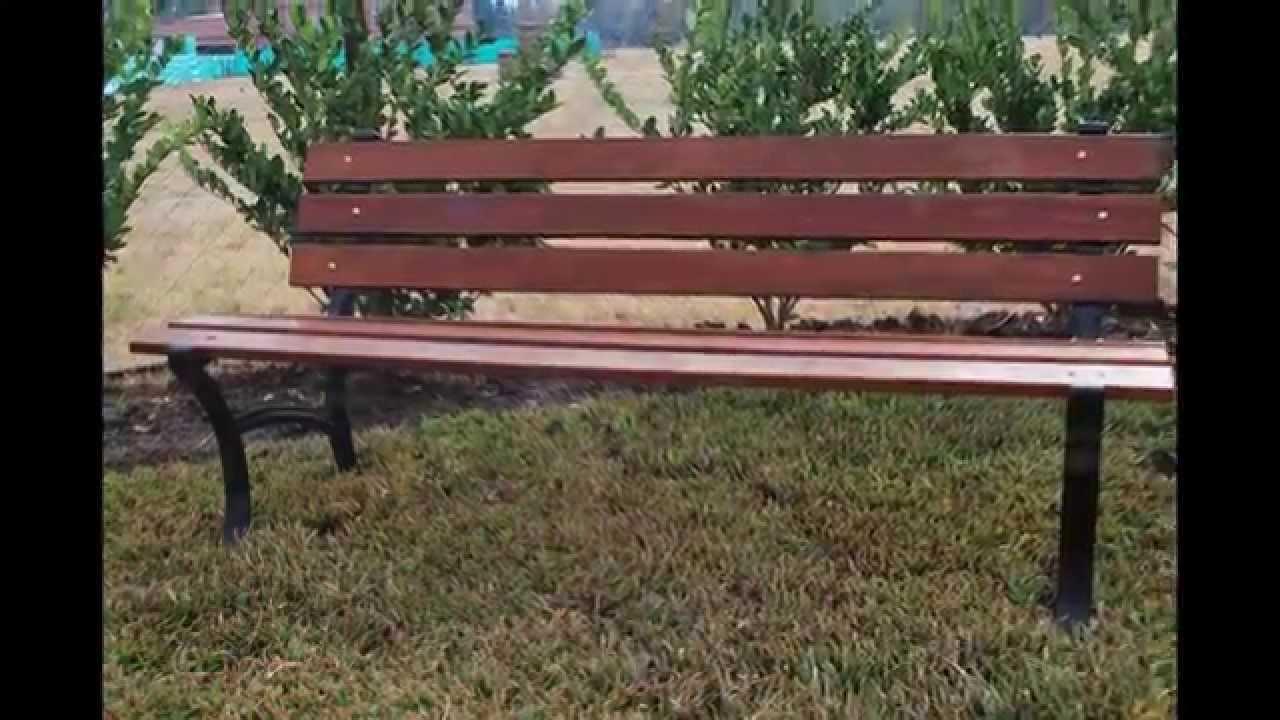 Bancos para clubes muebles de madera y jard n com youtube for Muebles para jardin en madera