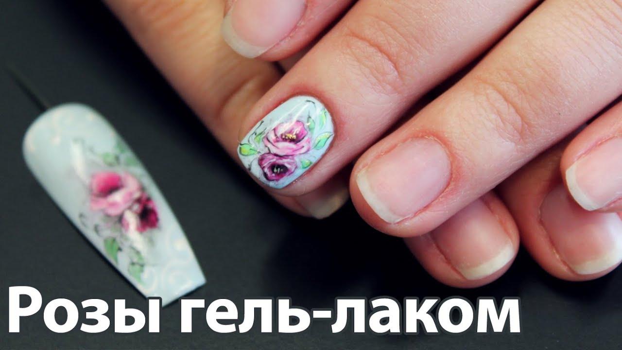 Роза лаком на ногтях