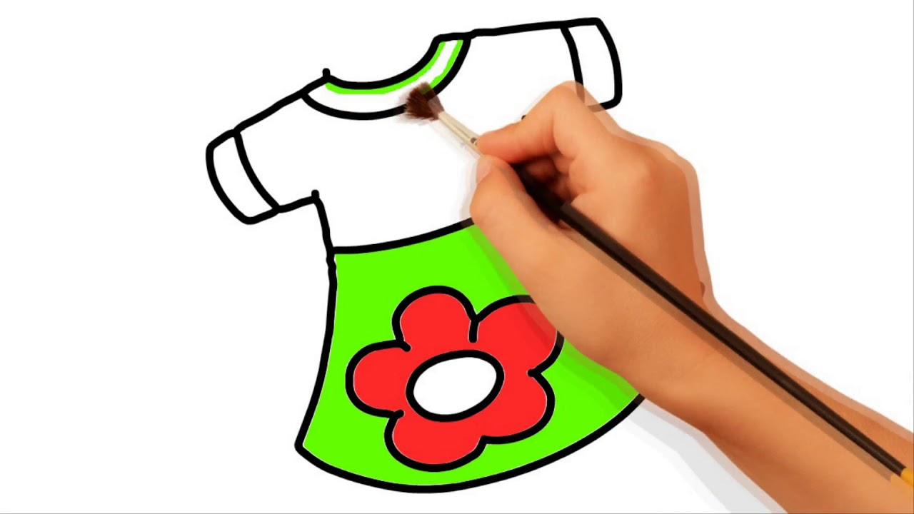 how to draw a girl in a dress easy step by step video beautiful baby girl dress draw and coloring