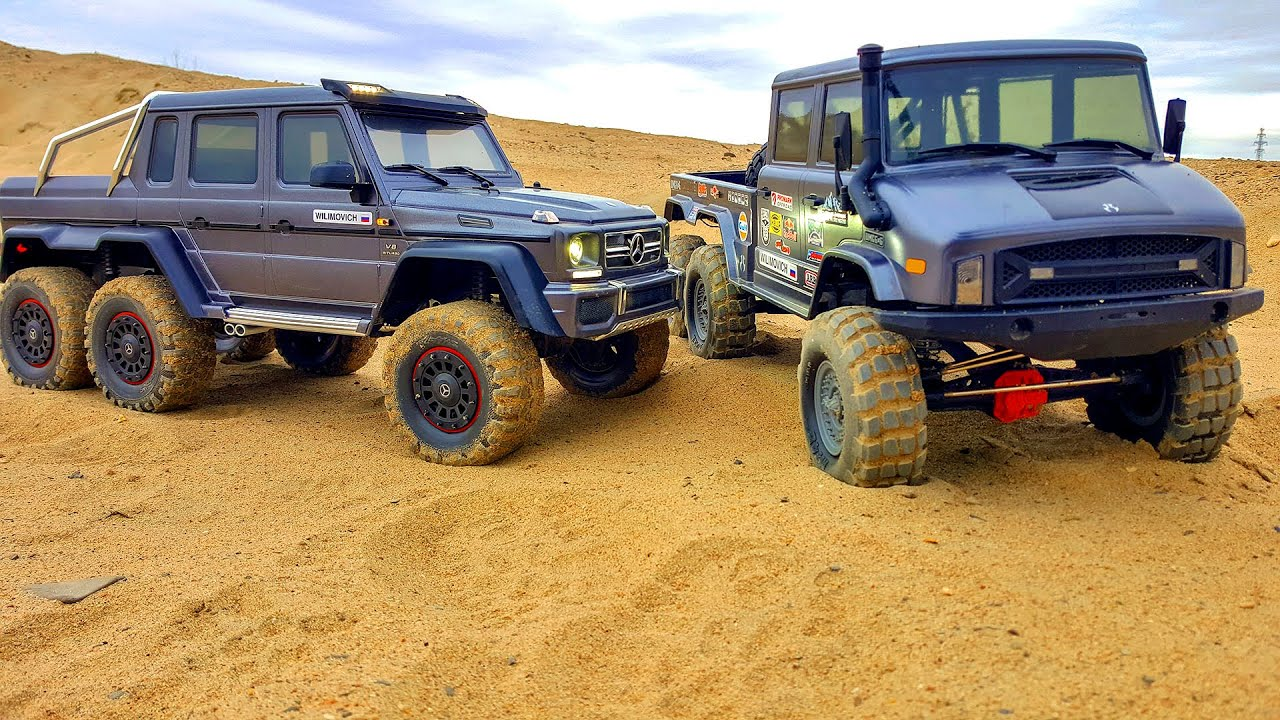 Mercedes Benz G 63 AMG 6x6 Traxxas TRX6 vs Unimog Axial UMG 6x6 – Sand OFF Road Adventures