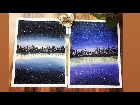 How to paint easy night sky landscape painting for beginners