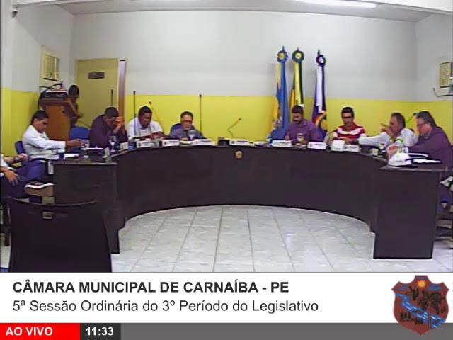 5ª Sessão Ordinária do 3º Período do Legislativo
