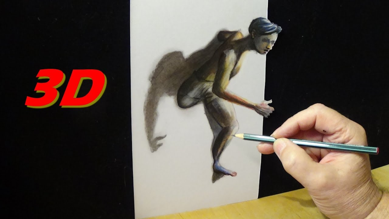 Trough The Wall Drawing A Running 3d Figure Trick Art On Paper