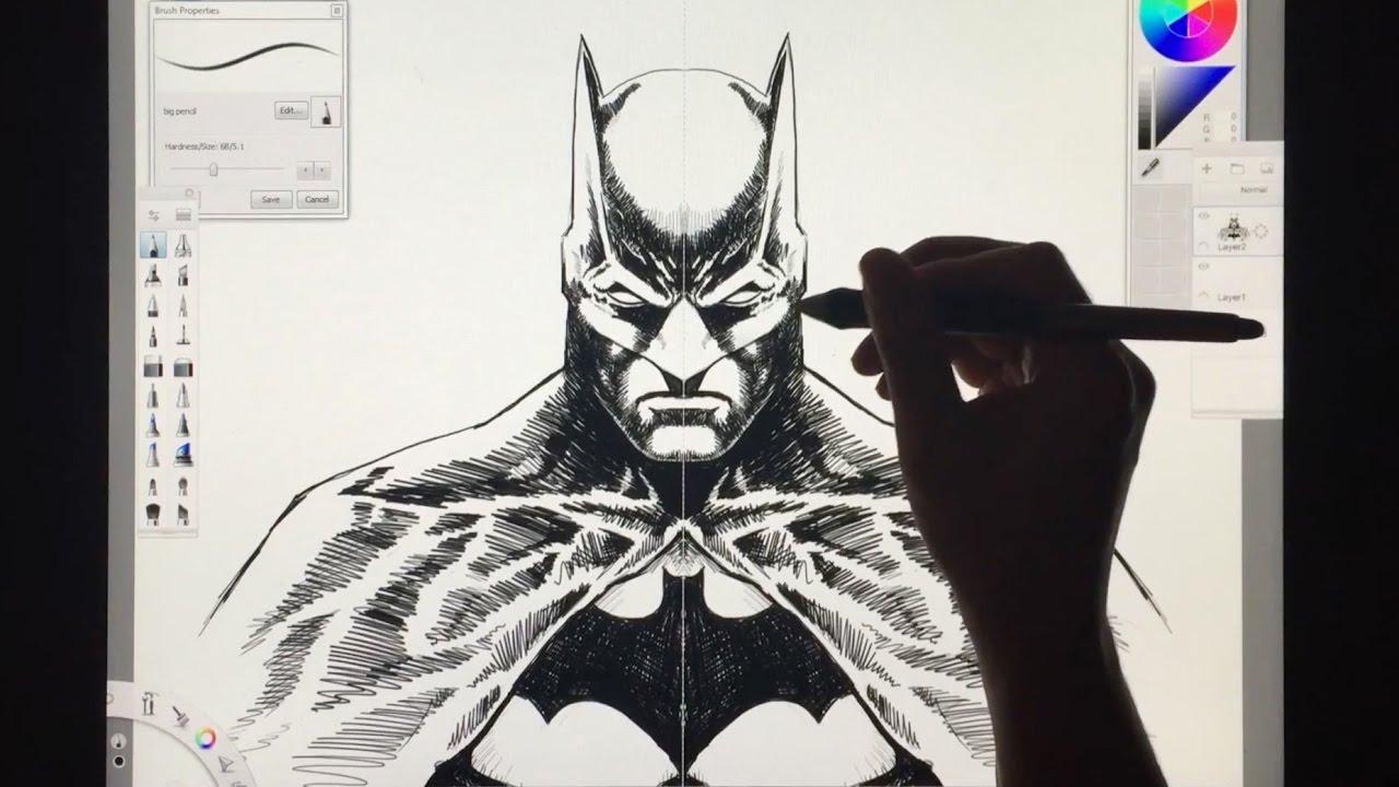 Drawing BATMAN Using SKETCHBOOK PRO
