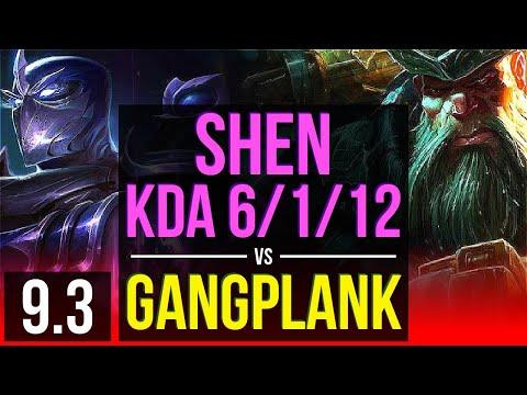 SHEN vs GANGPLANK (TOP)   KDA 6/1/12, 1000+ games   Korea Master   v9.3