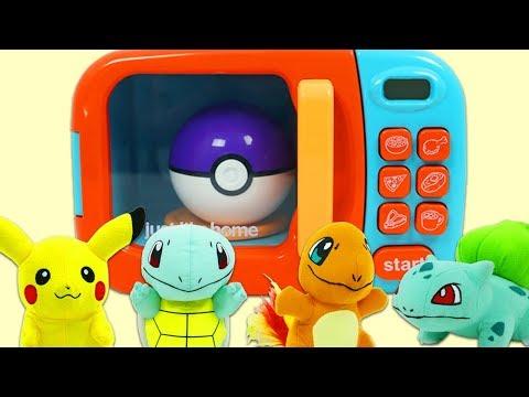 Using Magic Toy Microwave to Grow Pokemon & Surprise Toys in Poke Balls!