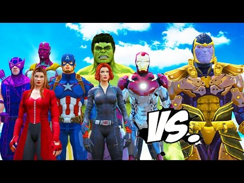 THE AVENGERS VS THANOS - HULK, IRON MAN, CAPTAIN AMERICA, THOR, BLACK WIDOW, HAWKEYE VS THANOS