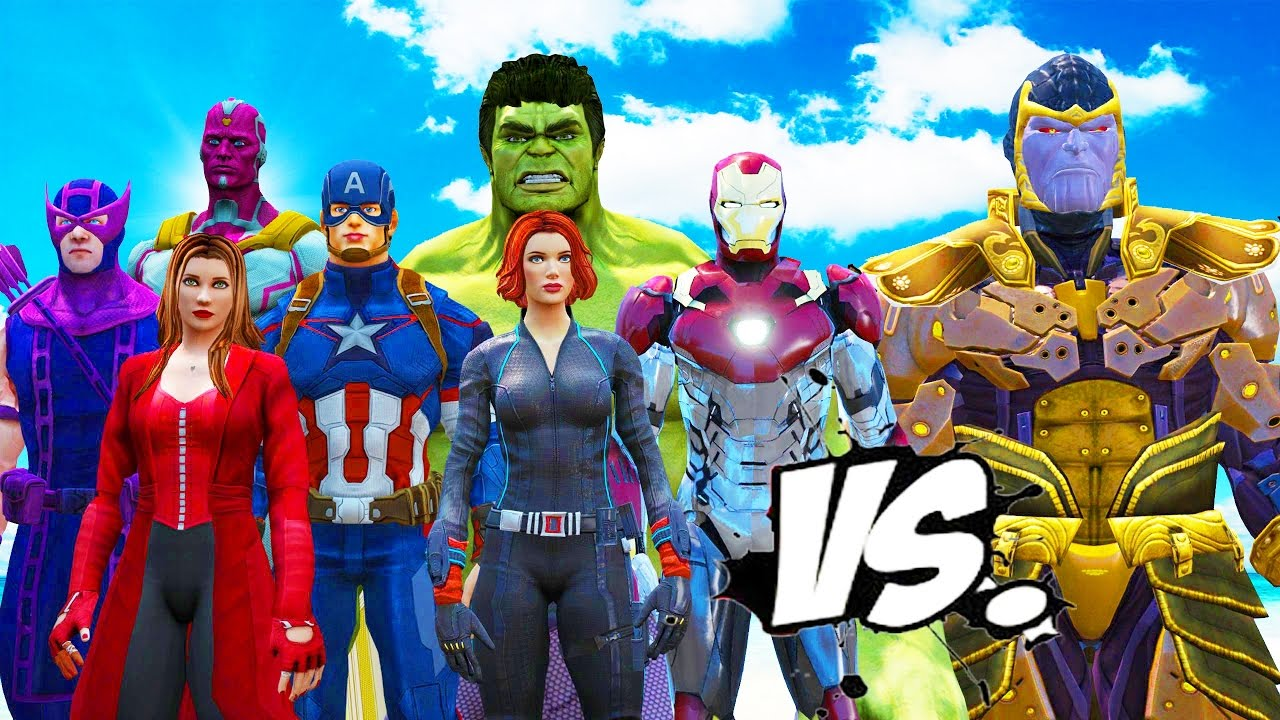 The Avengers Vs Thanos Hulk Iron Man Captain America Thor Black Widow Hawkeye Vs Thanos