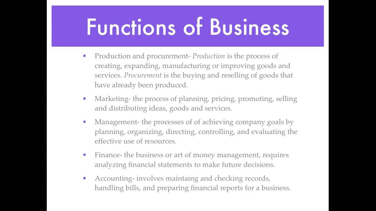 Types and Functions of Businesses YouTube – Type of Business Report