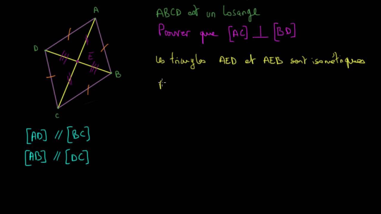 Demonstration Propriete Des Diagonales D Un Losange Video Khan Academy