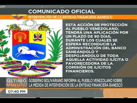 Gobierno venezolano interviene Banesco: Asegura que continuará funcionando normalmente