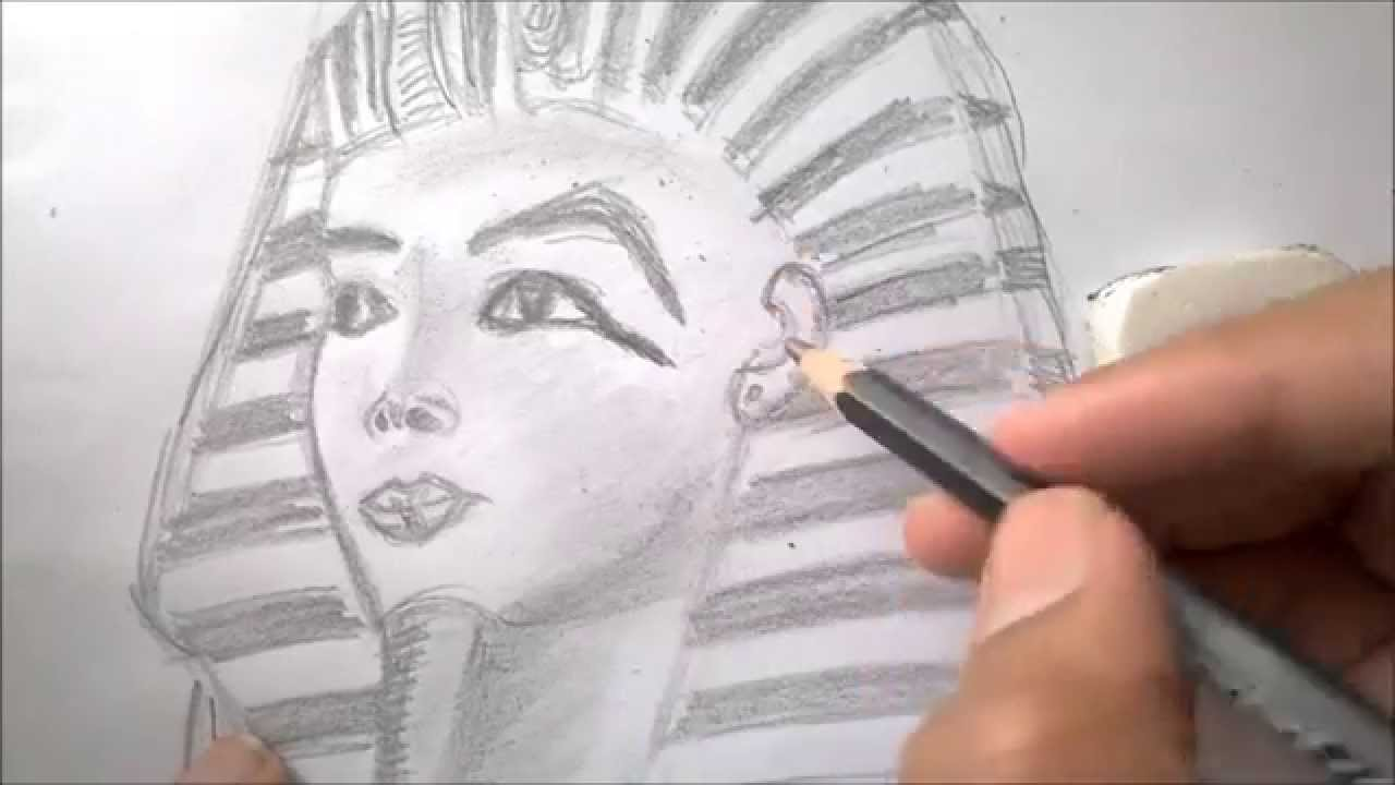 how to draw an egyptian pharaoh tutankhamun kg draws youtube