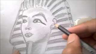 How to draw an Egyptian Pharaoh (Tutankhamun).