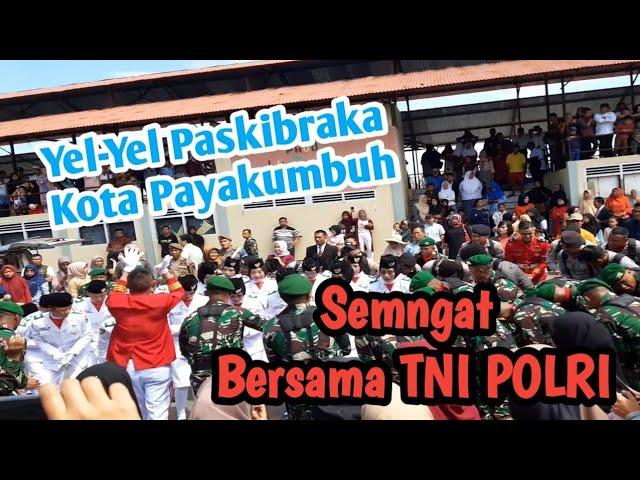 Paskibraka Payakumbuh 2019, yel-yel bahagia dan semangat setelah penurunan bendera bersama TNI POLRI