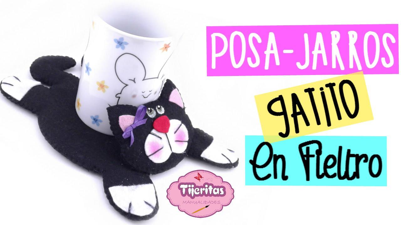 Ideas para regalar posa jarros de gatito facil - Manualidades para regalar en reyes ...