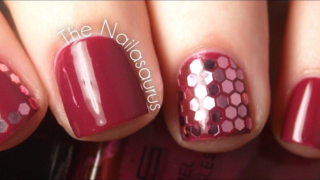 Honeycomb Nail Art Tutorial Using Hexagonal Glitter Glequins Youtube